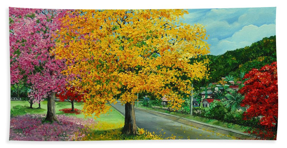 Poui Trees Hand Towel featuring the painting Poui In Diego by Karin Dawn Kelshall- Best