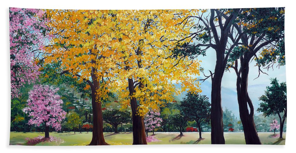 Tree Painting Landscape Painting Caribbean Painting Poui Tree Yellow Blossoms Trinidad Queens Park Savannah Port Of Spain Trinidad And Tobago Painting Savannah Tropical Painting Hand Towel featuring the painting Poui Trees In The Savannah by Karin Dawn Kelshall- Best