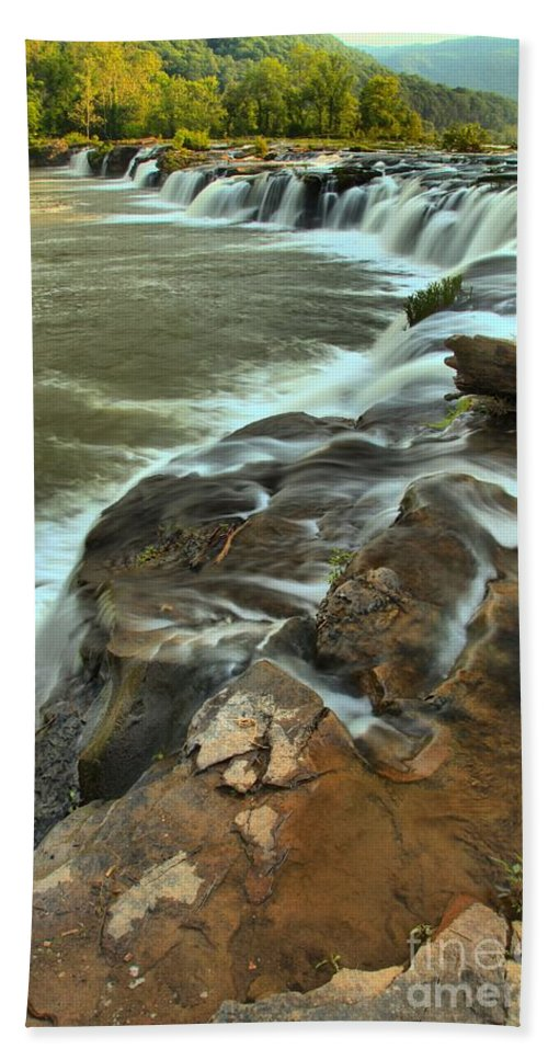 West Virginia Waterfalls Bath Sheet featuring the photograph Pouring Through The New River by Adam Jewell