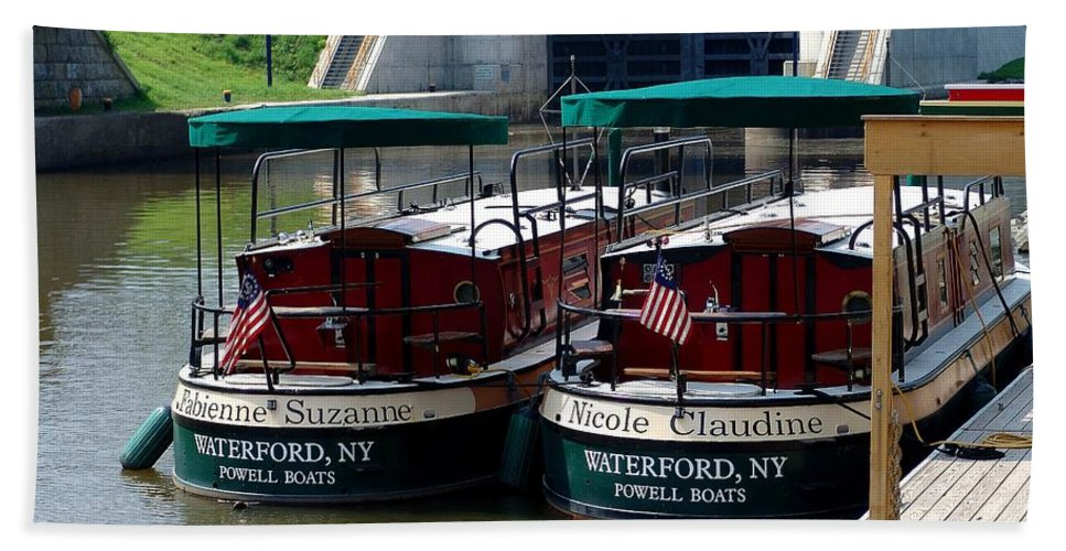 Lock Boats Hand Towel featuring the photograph Powell Boats by Eric Swan