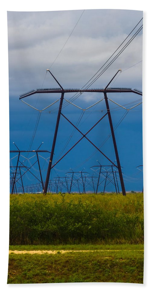 Bluish Sky Hand Towel featuring the photograph Power Towers by Ed Gleichman