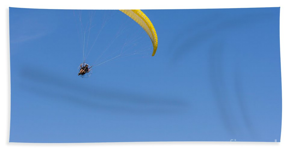 Transport Hand Towel featuring the photograph Powered Paraglider by Brian Roscorla
