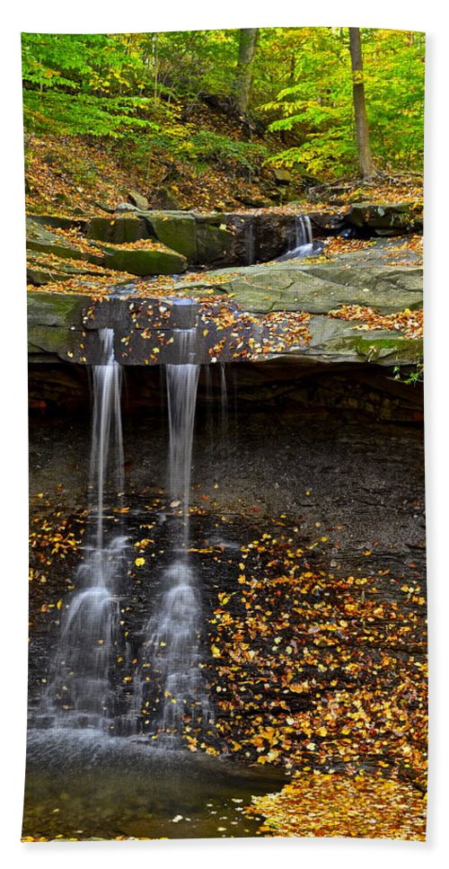 Waterfall Hand Towel featuring the photograph Powerful Trickle by Frozen in Time Fine Art Photography