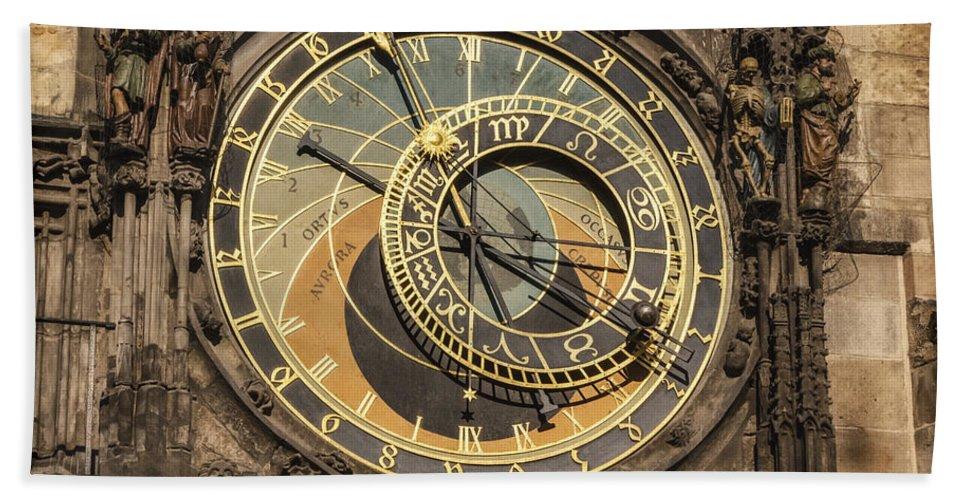 Joan Carroll Hand Towel featuring the photograph Prague Astronomical Clock by Joan Carroll