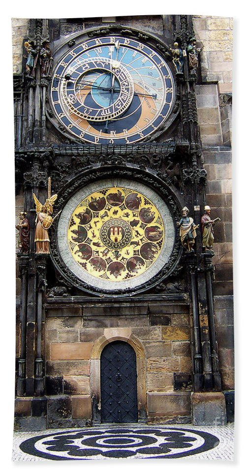 Astrology Bath Sheet featuring the photograph Prague Astronomical Clock by Tom Conway