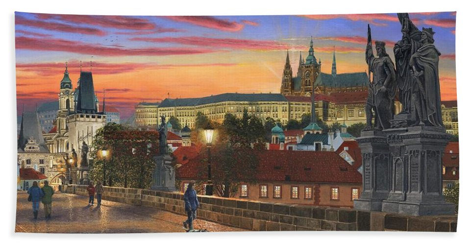 Landscape Hand Towel featuring the painting Prague At Dusk by Richard Harpum
