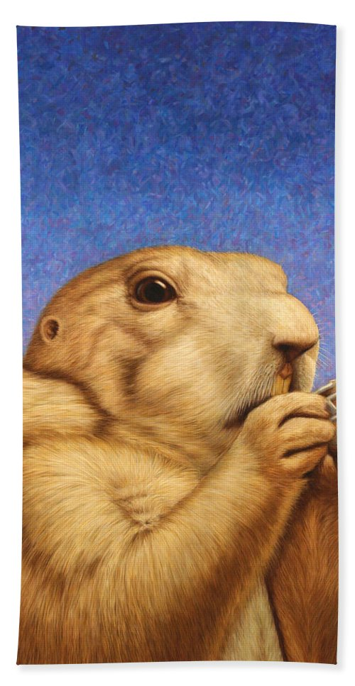 Prairie Dog Hand Towel featuring the painting Prairie Dog by James W Johnson
