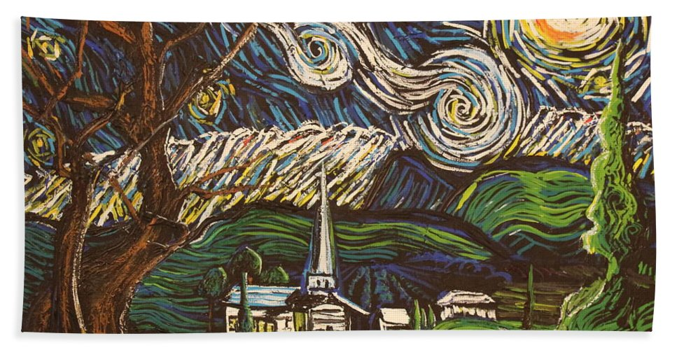 Landscape Hand Towel featuring the painting Praise To The Light by Stefan Duncan