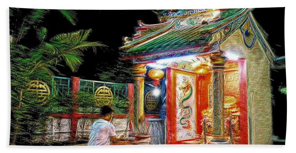 Night Hand Towel featuring the photograph Praying At The Shrine. by Ian Gledhill