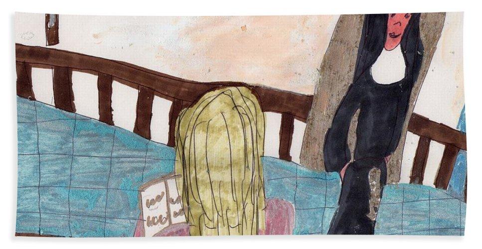 A Nun Watching A Girl Pray Bath Towel featuring the mixed media Praying For A Vocation by Elinor Helen Rakowski
