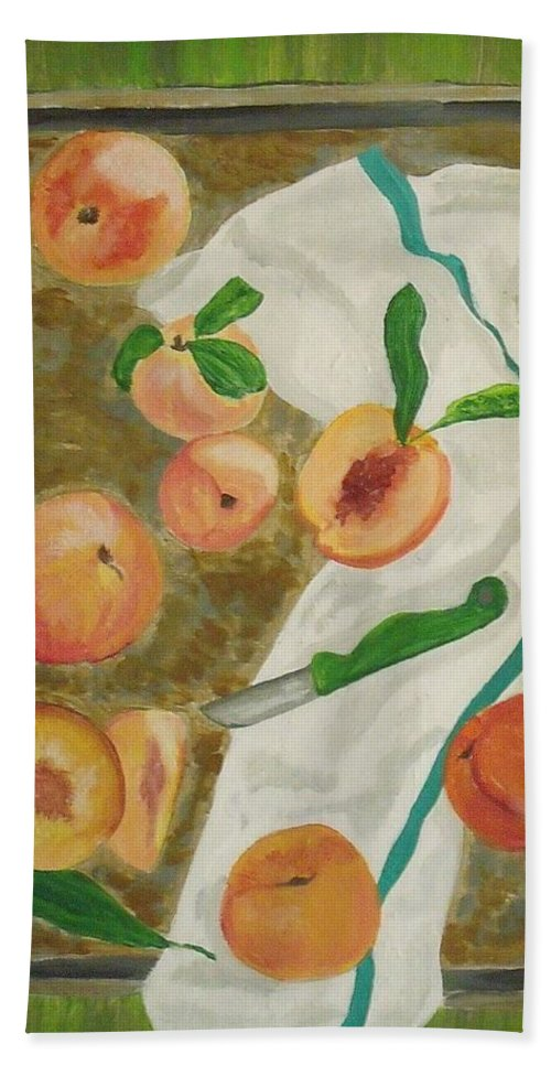 Fruit Hand Towel featuring the painting Pre-cobbler by Steve Cochran