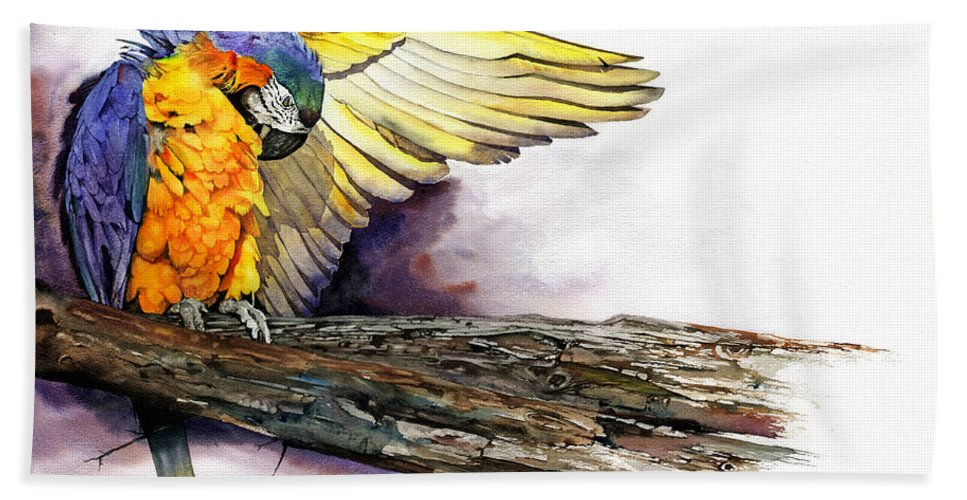Parrot Hand Towel featuring the painting Pre-flight Check by Peter Williams