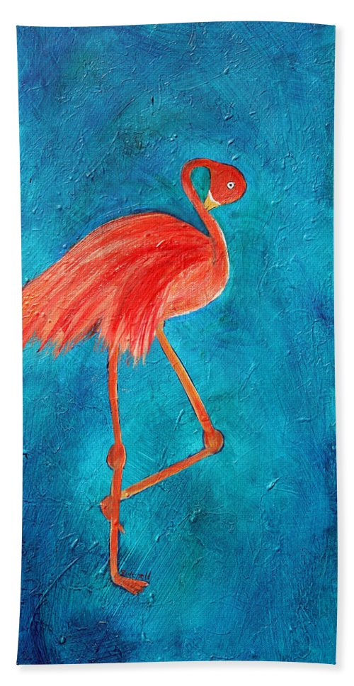 Flamingo Bath Sheet featuring the painting Preening by Maura Satchell