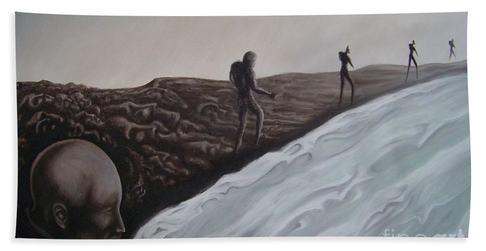 Tmad Hand Towel featuring the painting Premonition by Michael TMAD Finney