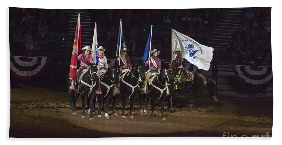 Uniform Hand Towel featuring the photograph Presenting The Colors On Horseback by Janice Pariza