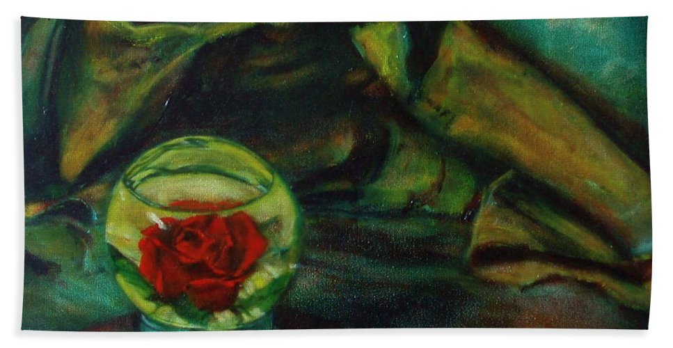 Still Life Hand Towel featuring the painting Preserved Rose . . Draped Canvas by Sean Connolly