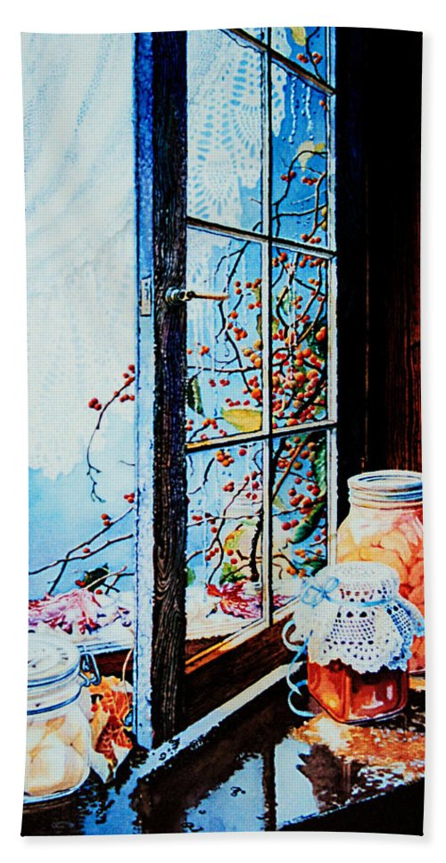 Still Life Art Bath Sheet featuring the painting Preserving The Harvest by Hanne Lore Koehler