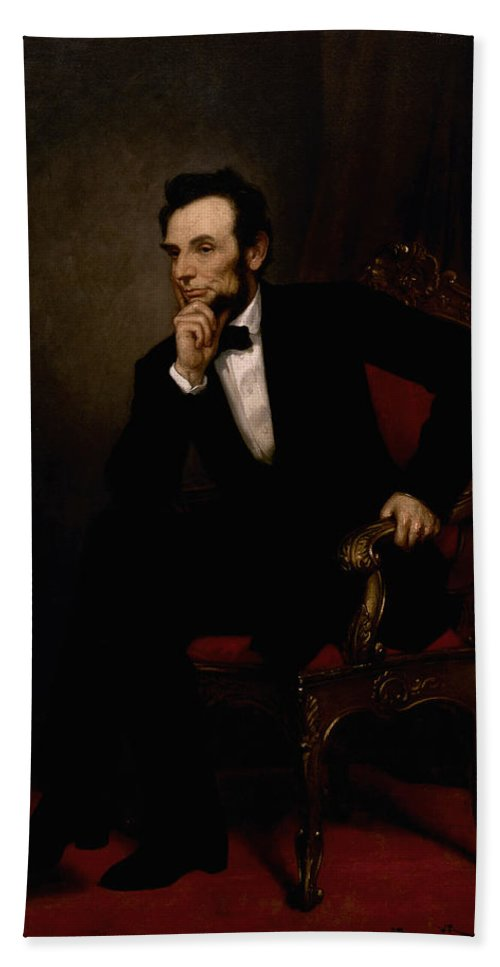 Abraham Lincoln Bath Towel featuring the painting President Lincoln by War Is Hell Store