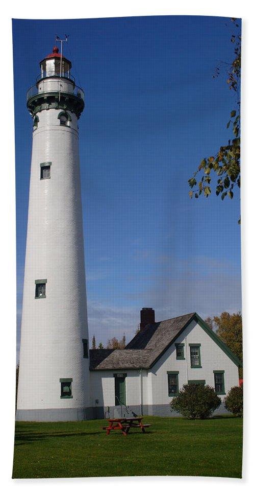 Lighthouse Bath Sheet featuring the photograph Presque Isle Mi Lighthouse 5 by John Brueske