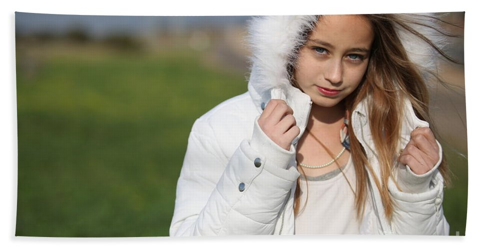 Beauty In Nature Hand Towel featuring the photograph Preteen In White Coat by Gal Eitan