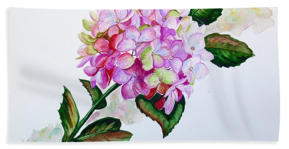 Hydrangea Painting Floral Painting Flower Pink Hydrangea Painting Botanical Painting Flower Painting Botanical Painting Greeting Card Painting Painting Bath Sheet featuring the painting Pretty In Pink by Karin Dawn Kelshall- Best