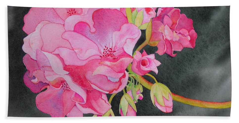 Geranium Hand Towel featuring the painting Pretty In Pink by Mary Ellen Mueller Legault