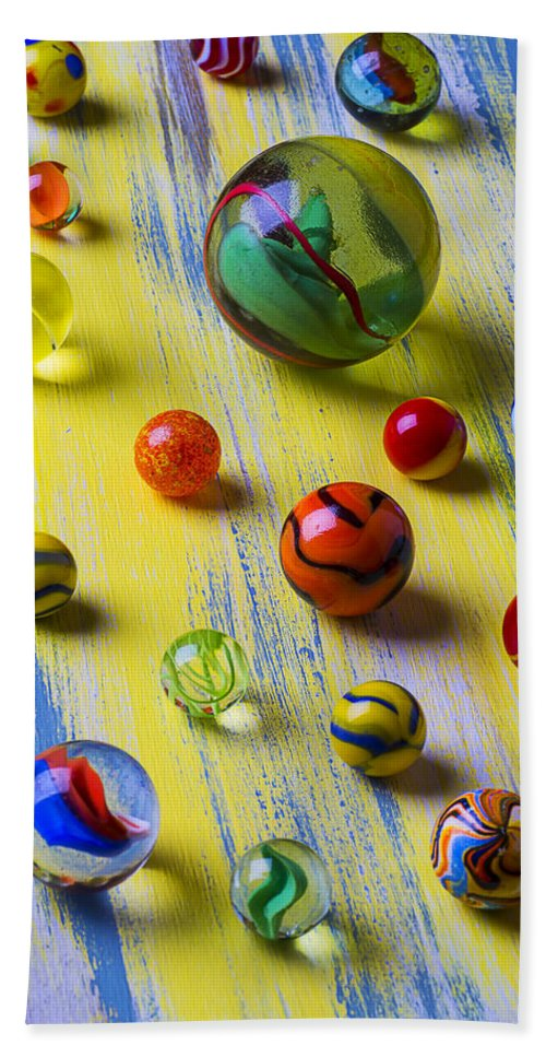 Pile Hand Towel featuring the photograph Pretty Marbles by Garry Gay