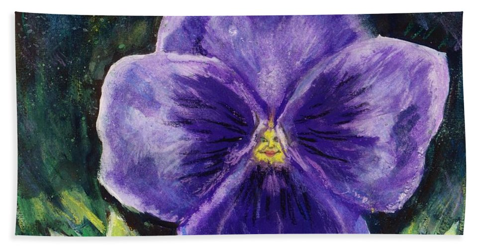Flower Bath Sheet featuring the painting Pretty Purple Pansy Person by Shana Rowe Jackson