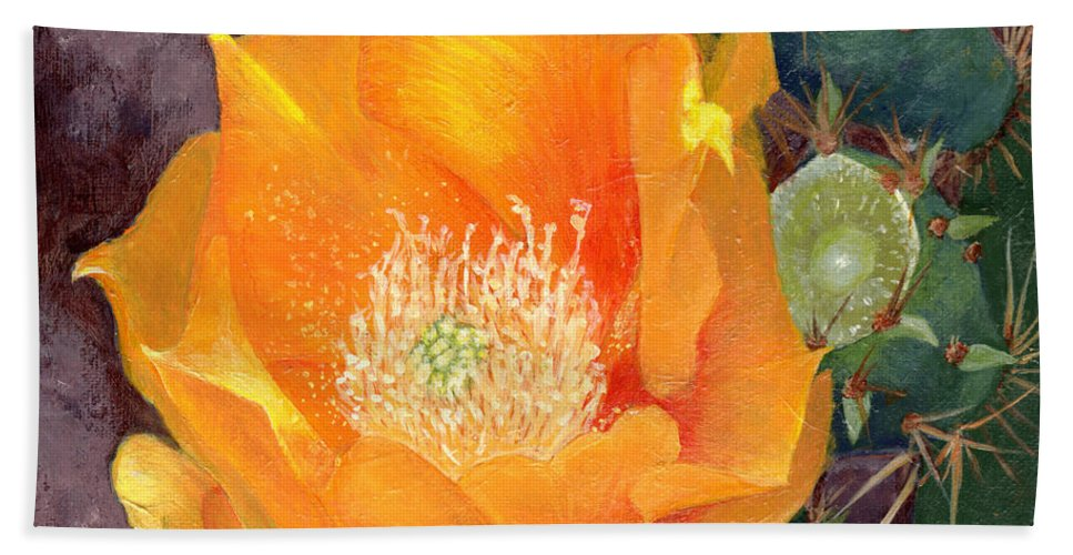 Nature Hand Towel featuring the painting Prickly Pear Blossom by Sue Sill