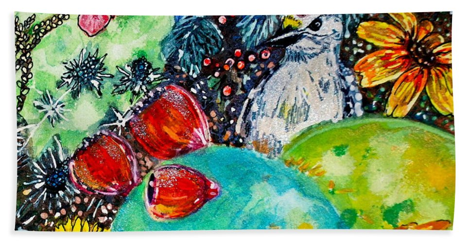 Fall Bath Sheet featuring the painting Prickly Pear Cactus Study II by M E Wood