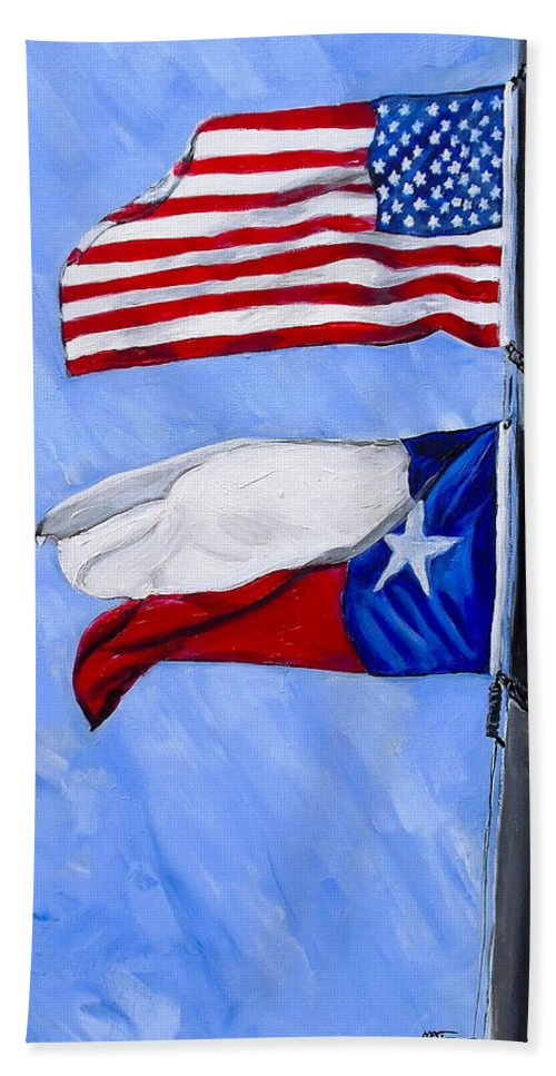 Texas Flag Hand Towel featuring the painting Pride In The Wind by Melissa Torres