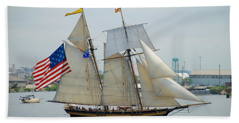 Clipper Hand Towel featuring the photograph Pride Of Baltimore II Passing By Fort Mchenry by Mark Dodd