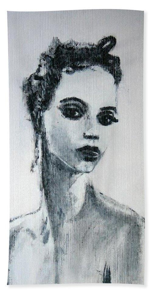 Portrait Art Bath Sheet featuring the painting Primadonna by Jarmo Korhonen aka Jarko