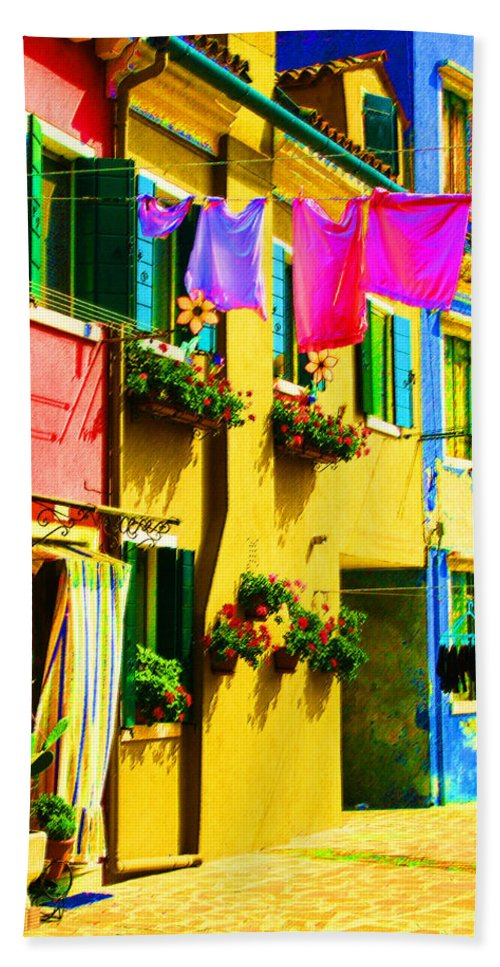 Burano Bath Towel featuring the digital art Primary Colors 3 by Donna Corless
