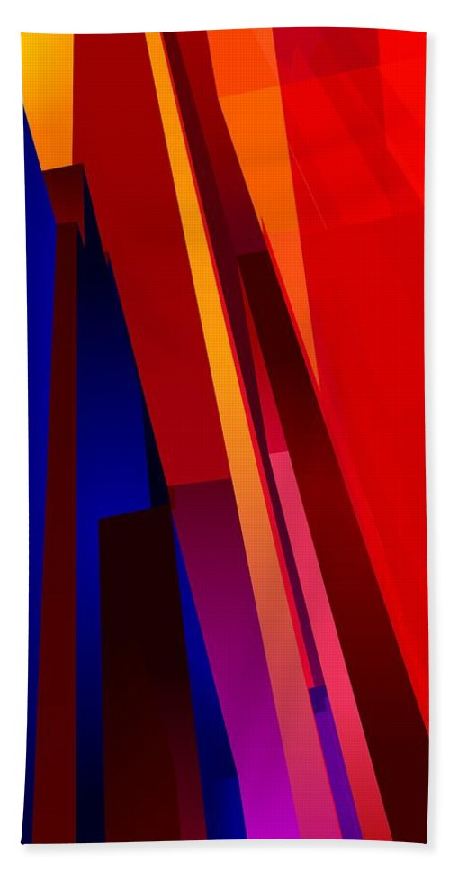 Abstract Bath Sheet featuring the digital art Primary Skyscrappers by James Kramer