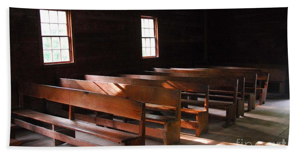 Church Hand Towel featuring the photograph Primitive Church by Cindy Manero