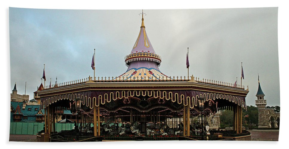 Cinderella's Carousel Hand Towel featuring the photograph Prince Charmings Regal Carousel by Michael Porchik