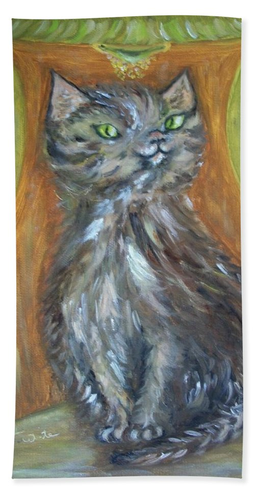 Cat Bath Sheet featuring the painting Princess Kitty by Teresa White