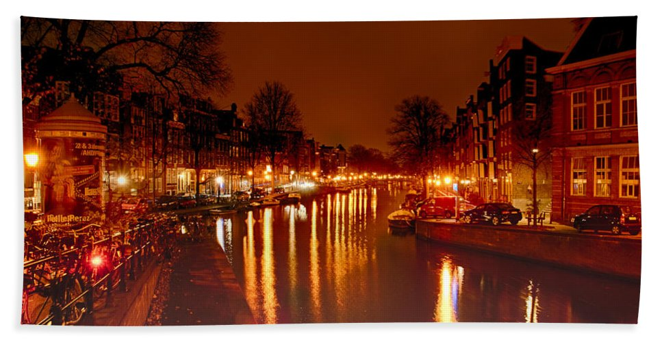 Amsterdam Canvas Prints Hand Towel featuring the photograph Prinsengrahct by Jonah Anderson