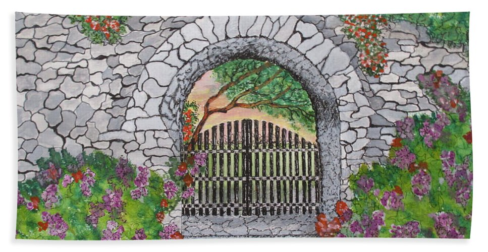 Print Bath Sheet featuring the painting Private Garden At Sunset by Ashley Goforth