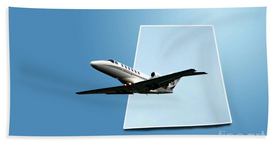 Jet Bath Sheet featuring the photograph Private Jet Chicago Airplanes 14 by Thomas Woolworth
