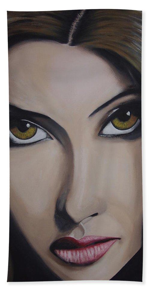 Bollywood Star Bath Sheet featuring the painting Priyanka Chopra by Dean Stephens