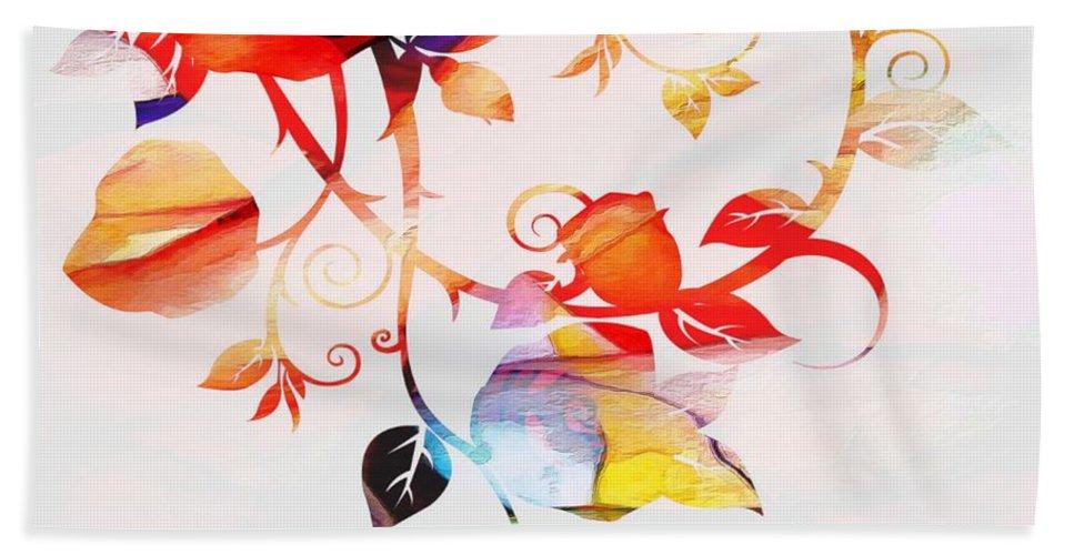 Profound Thought Rose Vine Hand Towel featuring the digital art Profound Thought Rose Vine by Catherine Lott