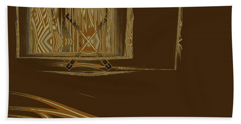 Abstract Bath Sheet featuring the digital art Progress Barred by Judi Suni Hall