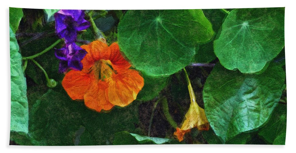 Nasturtiums Bath Towel featuring the painting Prolonging Summer by RC DeWinter