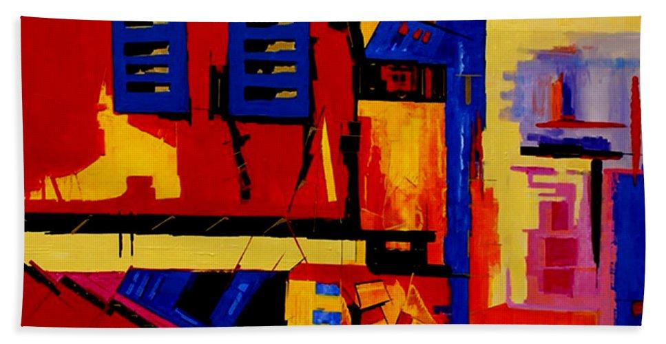 Abstract Hand Towel featuring the painting Promenade - II - by Miroslav Stojkovic - Miro
