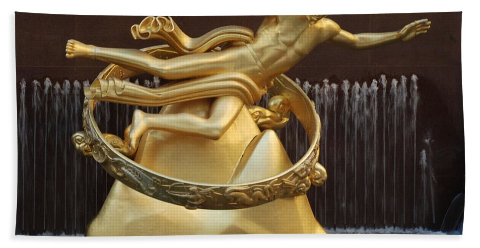 New York Bath Sheet featuring the photograph Prometheus In Rockefeller Center by Richard Bryce and Family