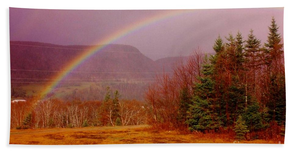 Rainbows Hand Towel featuring the photograph Promise And Hope Cape Breton by John Malone