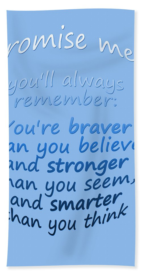 Winnie The Pooh Hand Towel featuring the digital art Promise Me - Winnie The Pooh - Blue by Georgia Fowler