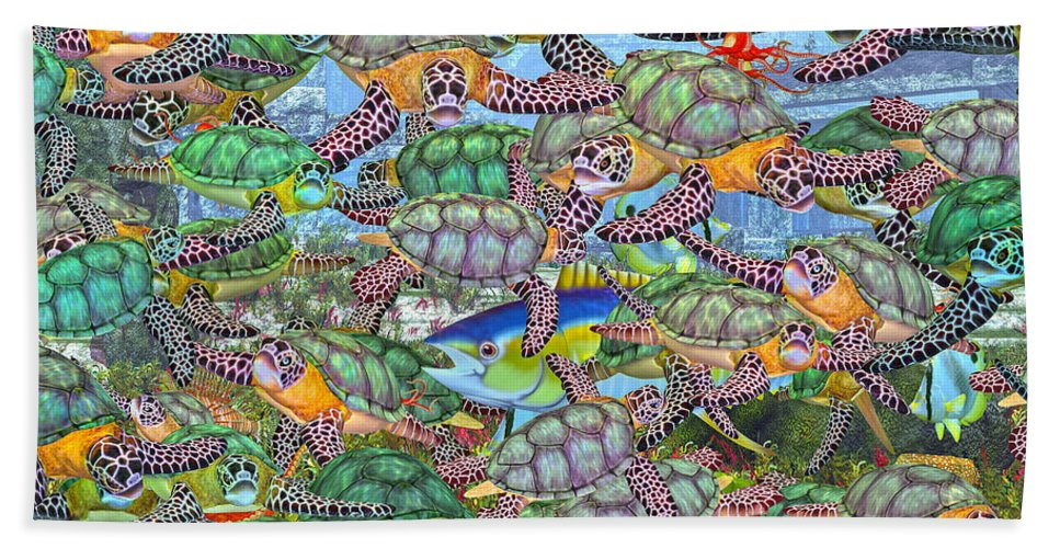Turtles Hand Towel featuring the digital art Protecting Mr. Bluefin by Betsy Knapp
